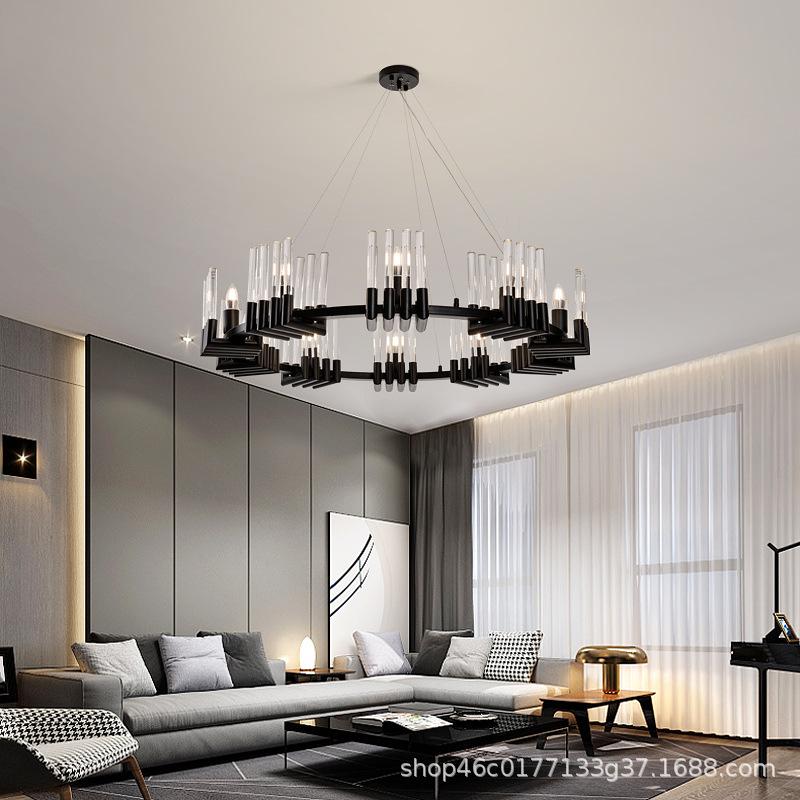 后现代餐厅吊灯轻奢大气圆形简约客厅水晶灯美式饭厅吧台灯