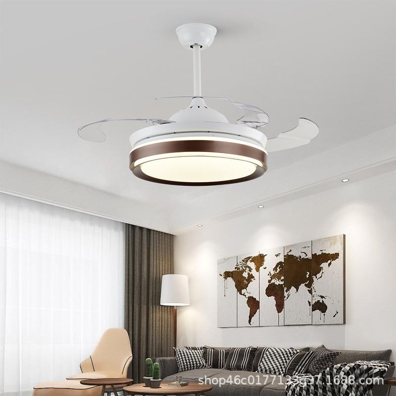 批发现代北欧款客厅餐厅卧室遥控可定时隐形扇叶冷暖可用风扇灯