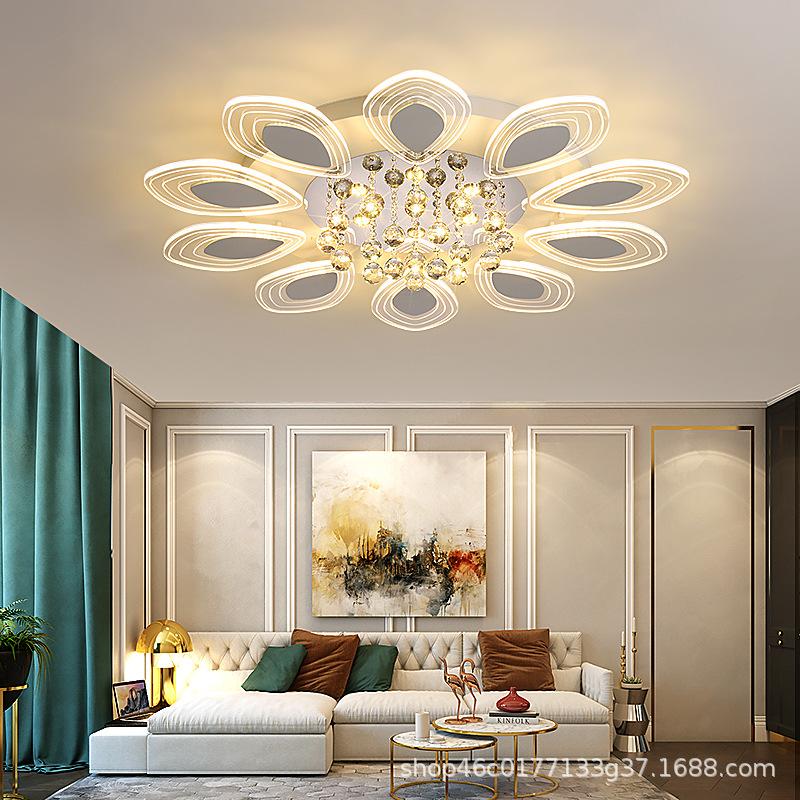 客厅灯家用水晶灯轻奢现代简约圆形大厅吸顶时尚大气温馨卧室灯