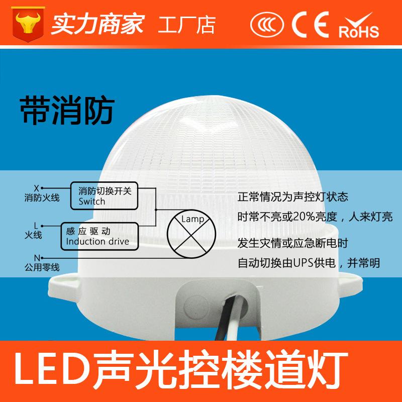 LED楼道灯声光控3W5W走廊过道感应灯消防防盗LED圆形声光控楼道灯