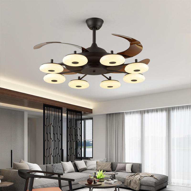 欧式创意风扇灯吊扇灯变频遥控家用客厅餐厅隐形带电风扇吊灯一体