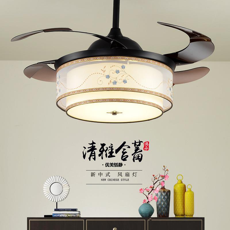 新中式隐形风扇灯仿古客厅餐厅卧室风扇吊灯现代简约个性吊扇大灯