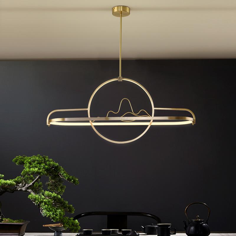 新中式吊灯全铜创意设计师吧台餐厅灯现代简约中国风卧室客厅灯具