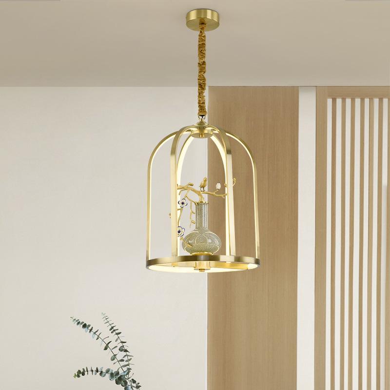 新中式全铜吊灯创意个性吧台禅意中国风书房茶楼餐厅鸟笼装饰灯具