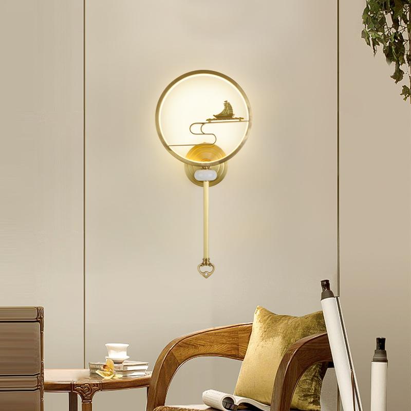 新中式全铜壁灯现代简约卧室床头装饰壁灯酒店客厅背景墙过道灯具