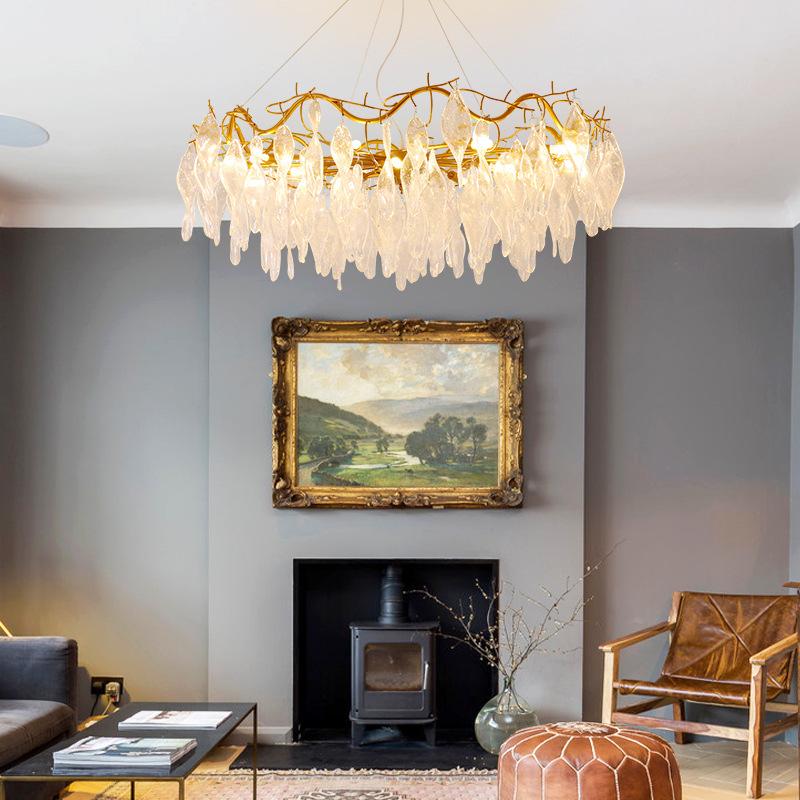 后现代轻奢灯法式吊灯琉璃设计师树枝现代样板间客厅美式水晶灯