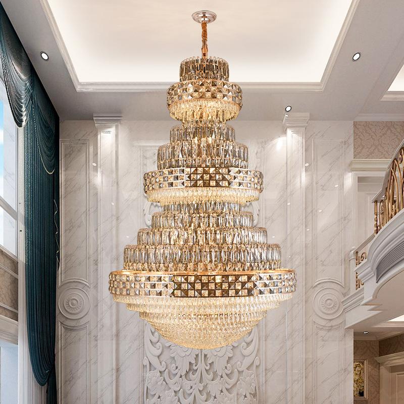 复式楼梯水晶大吊灯后现代轻奢水晶灯大堂大厅酒店轻奢别墅吊灯