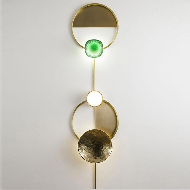 北欧后现代轻奢客厅壁灯创意时尚设计师装饰全铜卧室过道床头壁灯