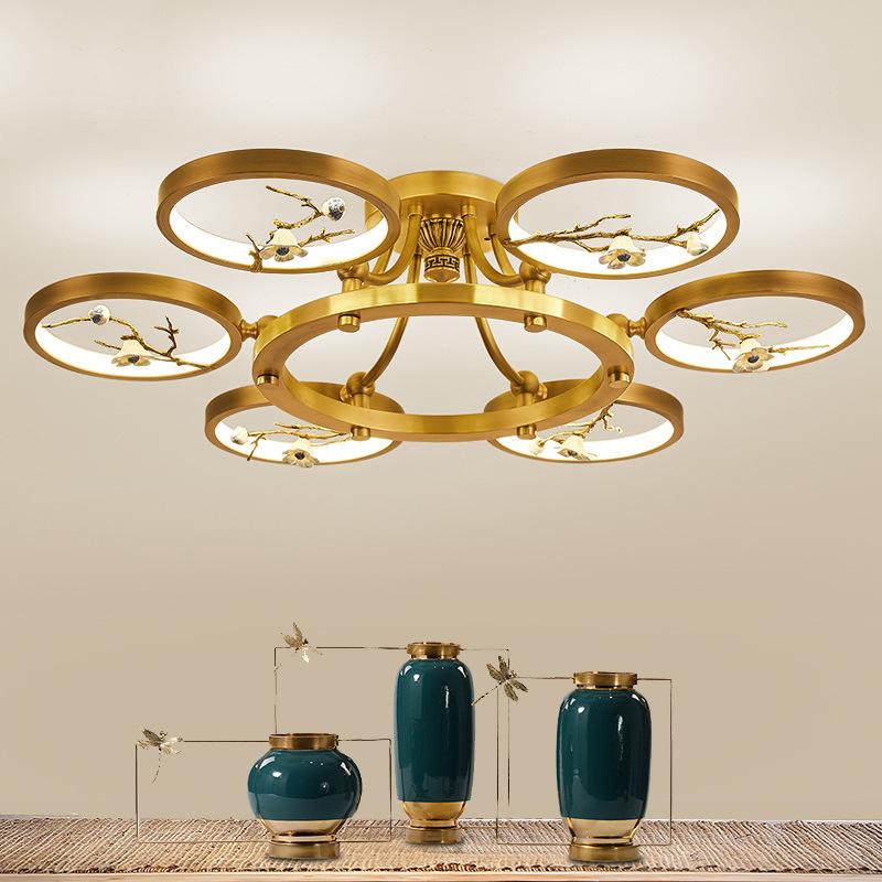 新中式全铜吸顶灯客厅灯现代简约大气家用圆形卧室餐厅灯2019新款