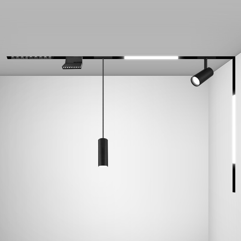 创新简约无边框磁吸轨道灯LED线条灯无主灯设计客厅创意线性射灯