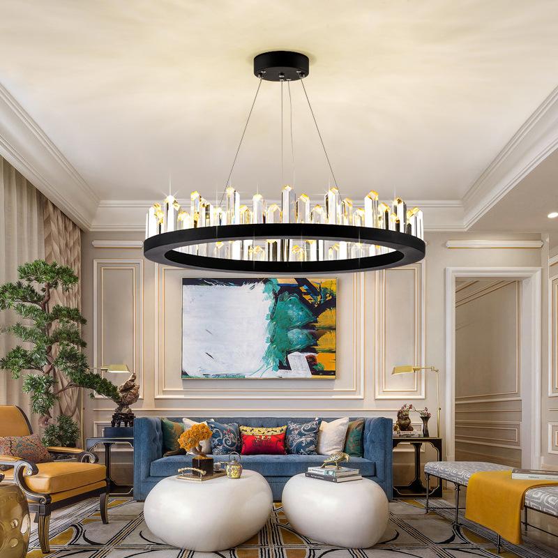 北欧后现代轻奢水晶灯现代简约金色奢华大气环形客厅餐厅吊灯