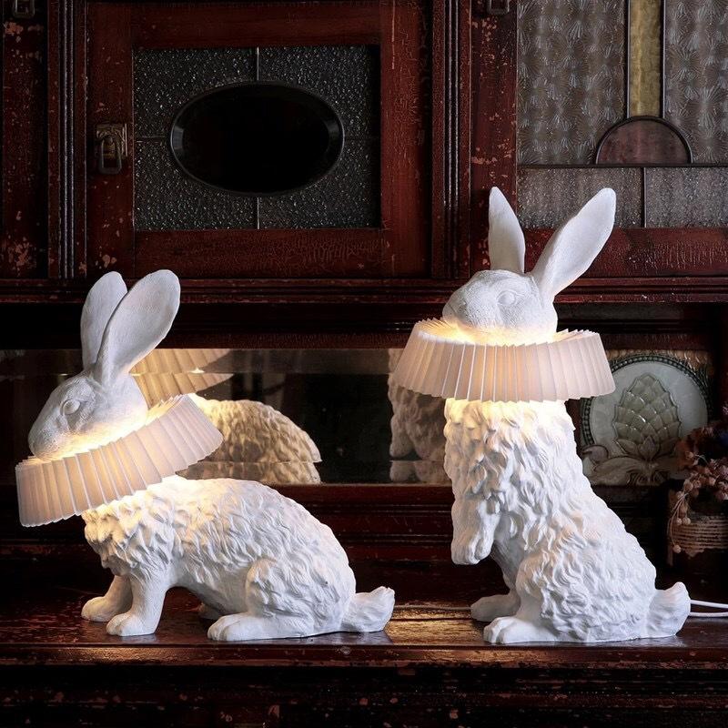 北欧简约可爱卧室床头台灯 客厅书房卡通兔子儿童房造型创意LED灯
