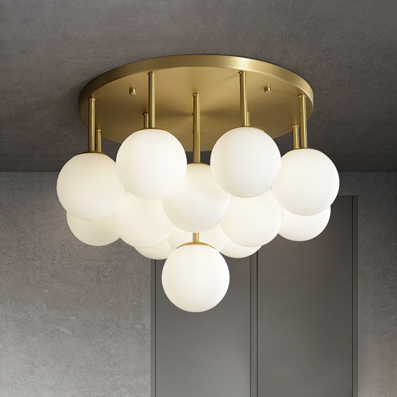 全铜餐厅吸顶灯简约现代玻璃客厅灯创意个性酒店书房分子轻奢灯具