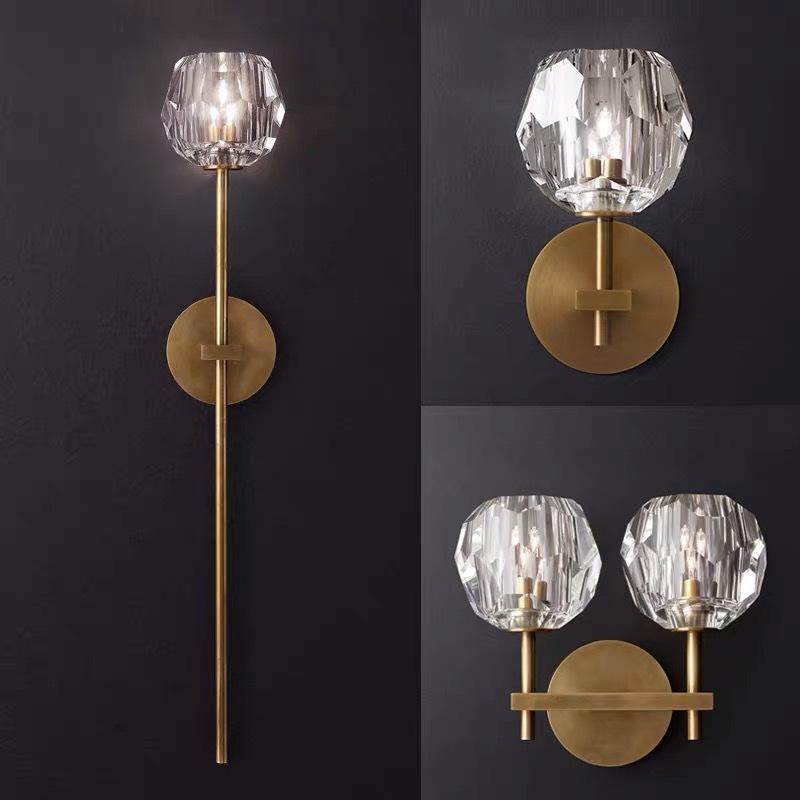 创意卧室LED灯具 全铜客厅轻奢背景墙灯简约现代餐厅过道水晶壁灯