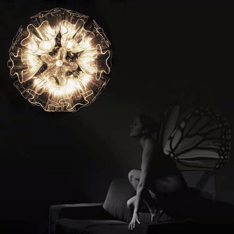 简约现代餐厅吧台LED灯具 个性艺术卧室客厅灯蝴蝶花轻奢玻璃吊灯