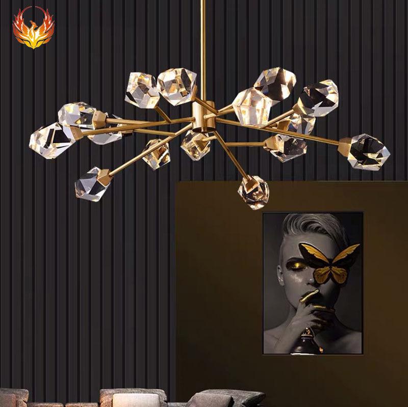 后现代全铜客厅led灯 简约轻奢餐厅灯具创意北欧卧室床头水晶吊灯