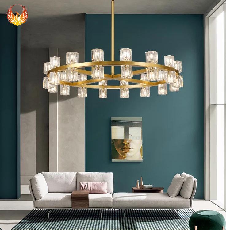 后现代水晶灯具简约客厅餐厅全铜灯酒店轻奢卧室书房现代创意吊灯