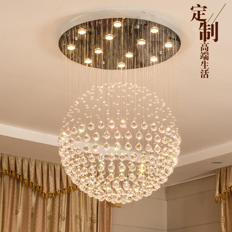 水晶吊灯圆形 球形客厅餐厅灯现代简约 复式楼梯灯服装店吊灯卧室
