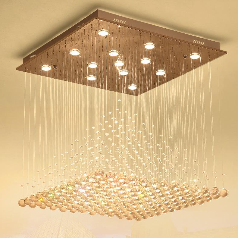 方形大气金字塔吊线LED水晶灯客厅灯卧室灯具餐厅吊灯饰现代简约