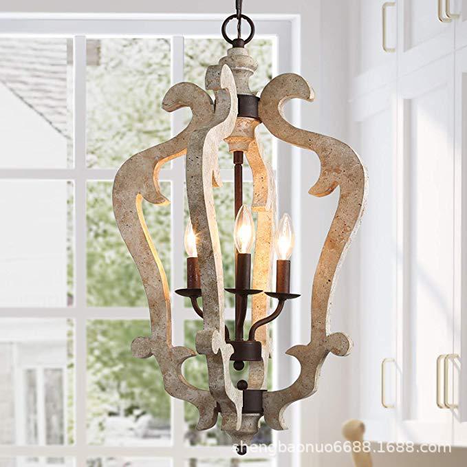 亚马逊专供美式做旧木头吊灯过道法式田园复式卧室别墅装饰外贸灯