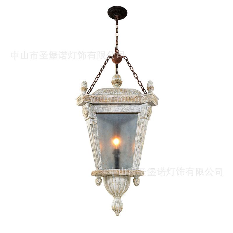 亚马逊专供美式乡村复古灯笼吊灯法式古董田园过道走廊楼梯间外贸