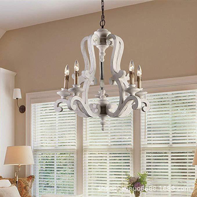 亚马逊专供美式复古木头吊灯过道木艺卧室别墅装饰法式田园灯外贸