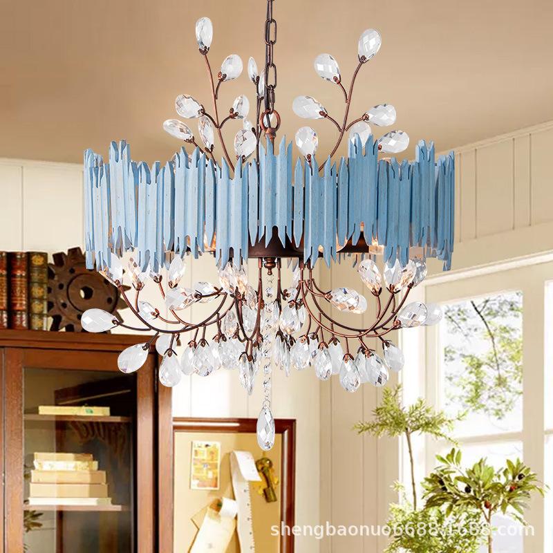 桢豪美式复古吊灯老洋房怀旧木艺法式乡村仿古做旧地中海水晶灯具