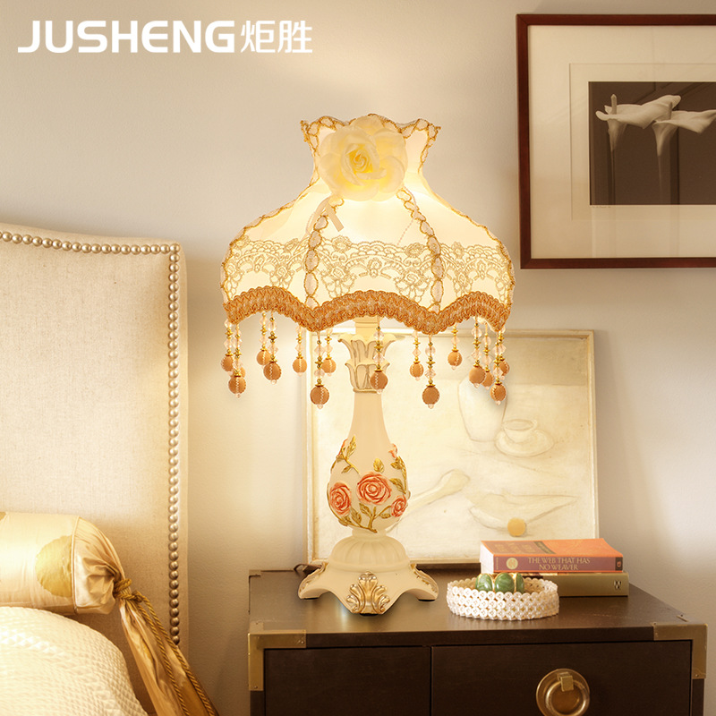炬胜树脂台灯卧室床头柜灯欧式浪漫温馨家用个性流苏网红布艺台灯