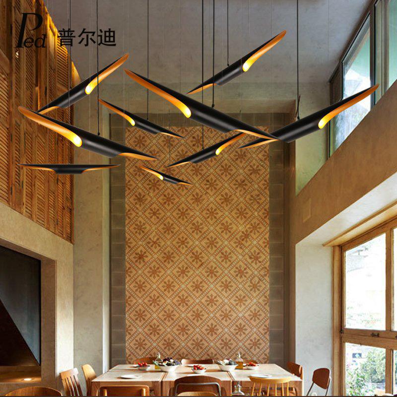 后现代灯具复式楼客厅餐厅酒吧咖啡厅服装店北欧创意个性竹筒吊灯