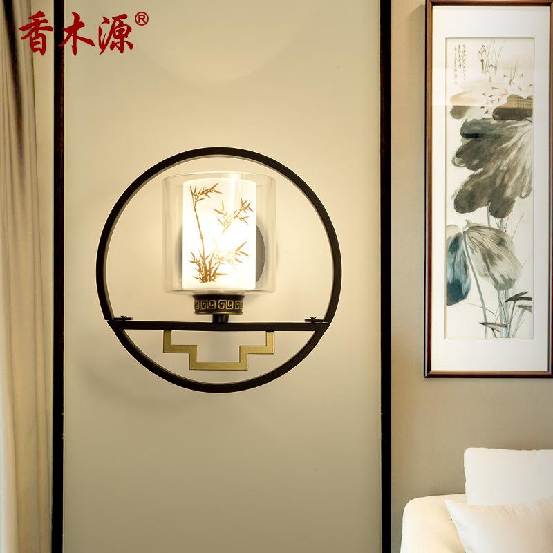 仿古中式LED壁灯卧室床头灯饰古典酒店过道走廊灯新中式壁灯2030