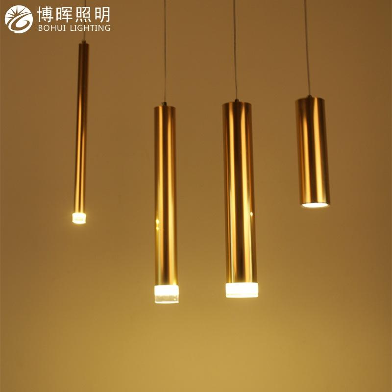现代简约创意个性led筒灯明装吊线餐厅前台吧台长筒圆柱单头吊灯