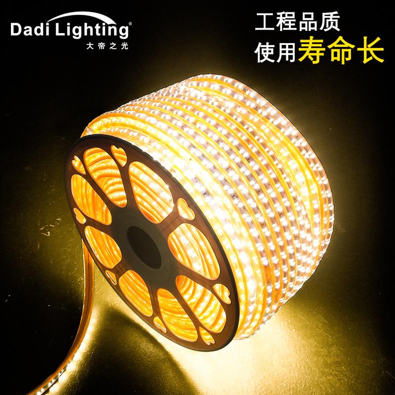 批发220v高压led灯带2835斜排灯带贴片柔性软灯条防水室内室外