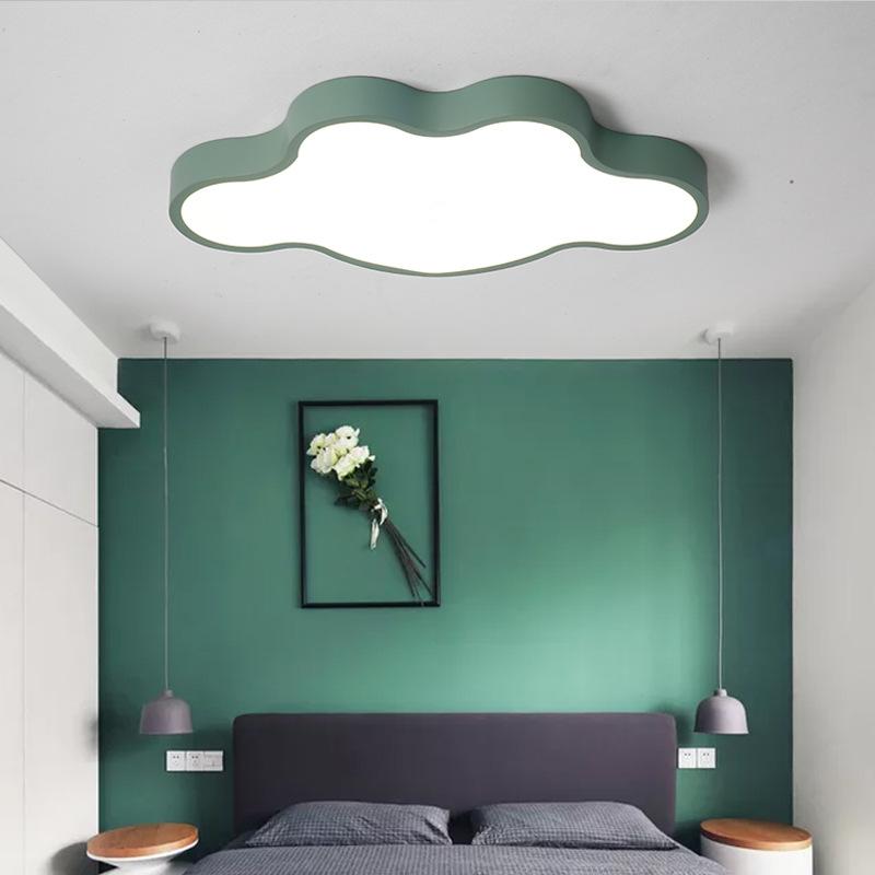 儿童卧室灯马卡龙北欧创意超薄云朵LED吸顶灯男孩女孩房间灯具