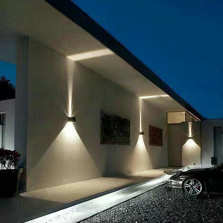 led可调角度户外壁灯6w方形双头防水灯阳台柱子庭院背景墙装饰灯
