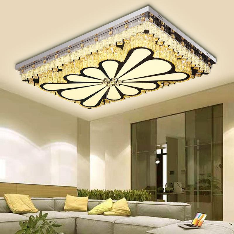 现代简约亚克力led水晶吸顶灯 家用灯饰照明灯具遥控长方形客厅灯