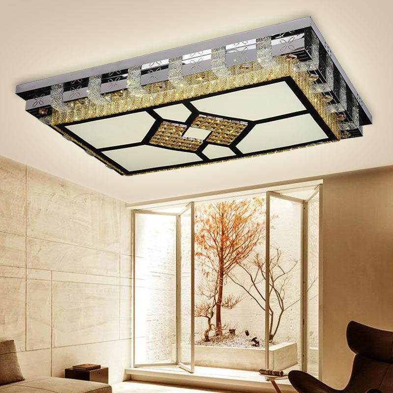 新款现代简约亚克力客厅灯长方形灯饰照明装饰灯具 水晶LED吸顶灯