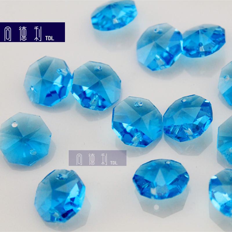宝蓝色八角珠水晶 14mm宝蓝色水晶八角珠灯饰配件 机磨珠帘散珠子