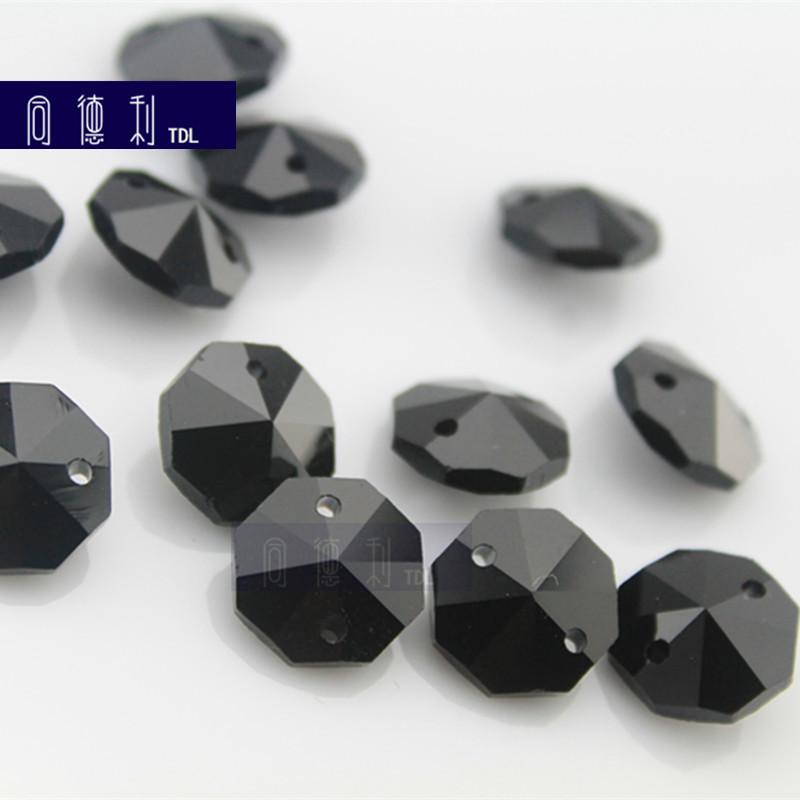 黑色八角珠水晶 14mm机磨黑色水晶八角珠灯饰配件diy 珠帘散珠子