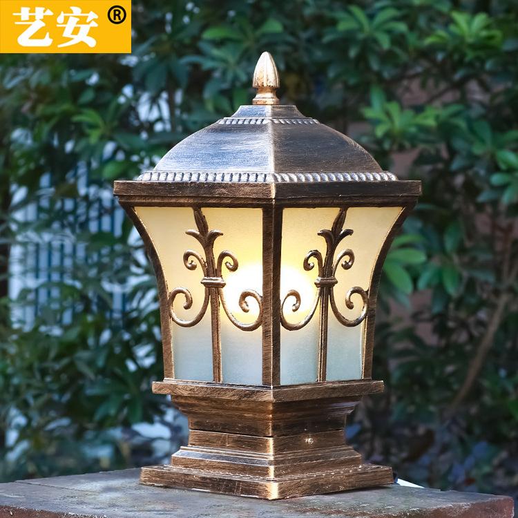 厂家热销欧式led庭院灯 户外别墅花园灯 防水剑花围墙大门柱头灯