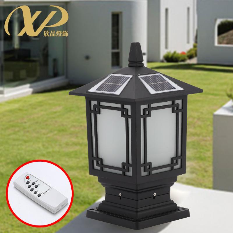 led太阳能柱头灯中式庭院灯草坪灯户外防水花园别墅室外景观灯