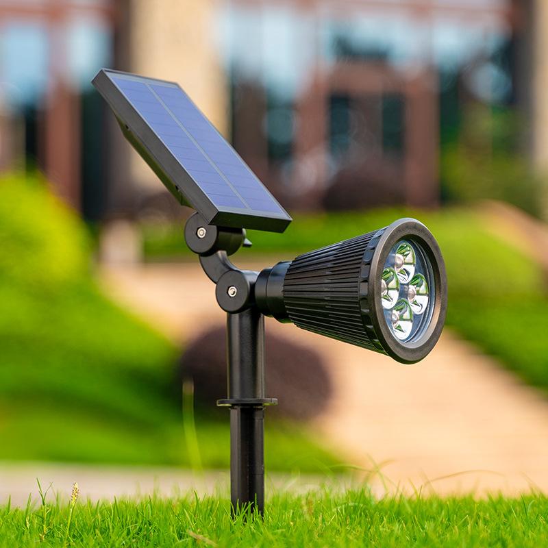 太阳能户外射灯照树室外防水草坪灯别墅插地庭院绿化灯超亮投光灯