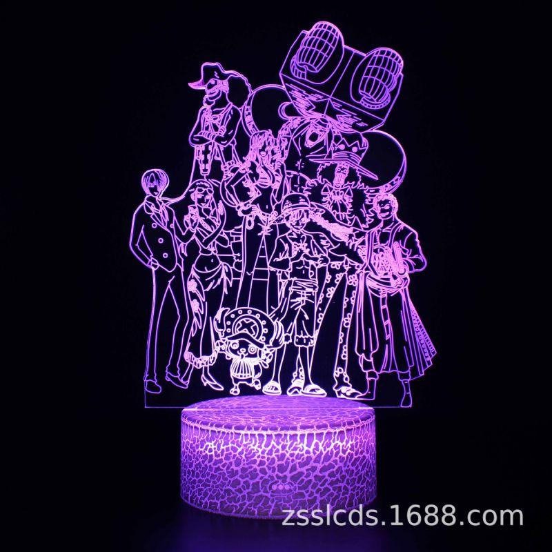 跨境货源海贼王路飞系列3d小夜灯七彩触摸遥控创意led台灯礼品灯