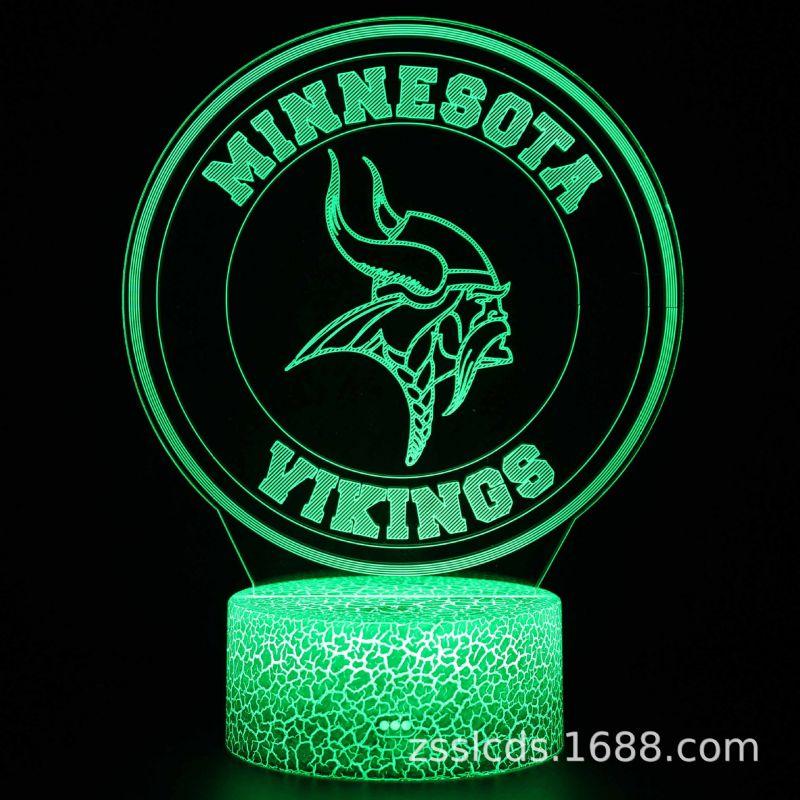 跨境货源橄榄球队标系列3d小夜灯七彩触摸 led台灯 礼品灯视觉灯