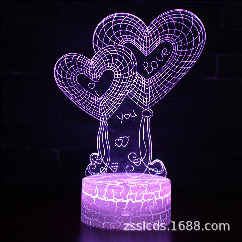跨境货源生日情人节系列3d台灯遥控灯创意七彩小夜灯 触摸礼品灯