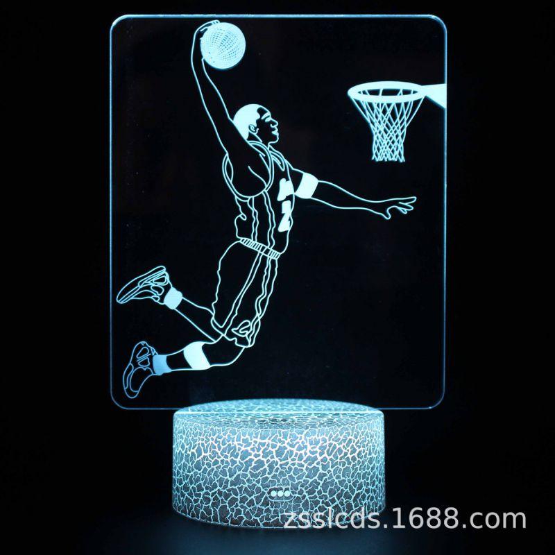 跨境货源NBA球星3d小夜灯遥控灯创意插电七彩 led触摸台灯礼品灯