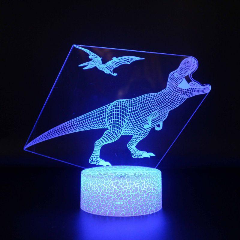 跨境专配恐龙系列3D小夜灯led遥控七彩触摸创意礼品灯床头灯台灯