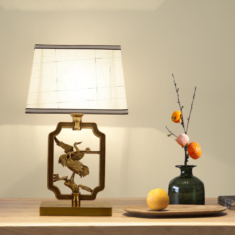 新中式台灯古典中式装饰卧室床头灯复古铁艺客厅餐厅书房酒店台灯