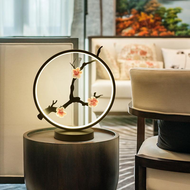 新中式台灯圆形卧室床头灯禅式LED仿古典台灯中国风禅意书房台灯