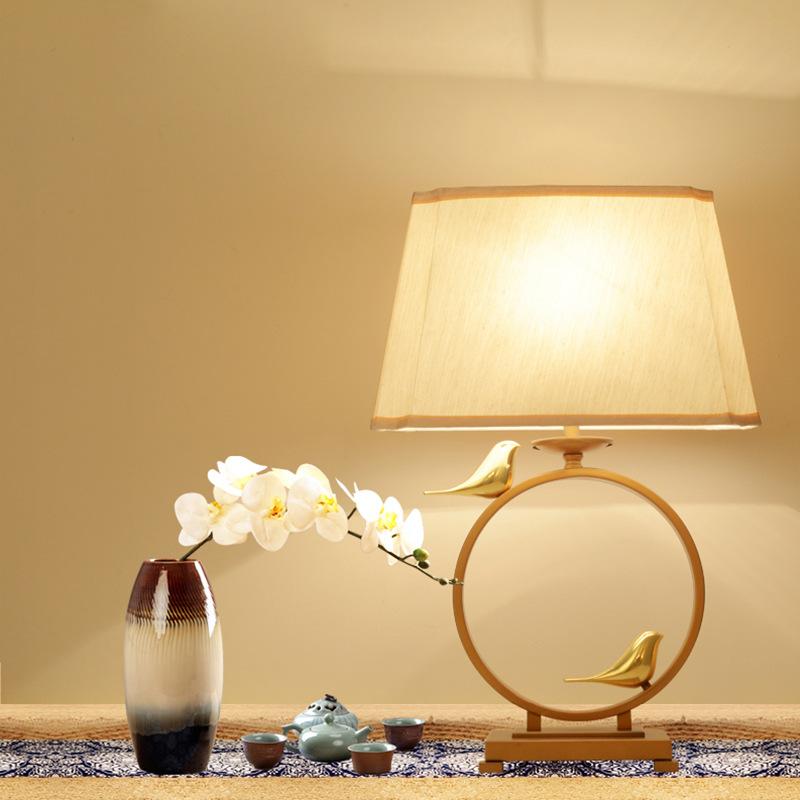 新中式复古客厅现代书房铜艺简约设计师卧室小鸟创意布罩床头台灯