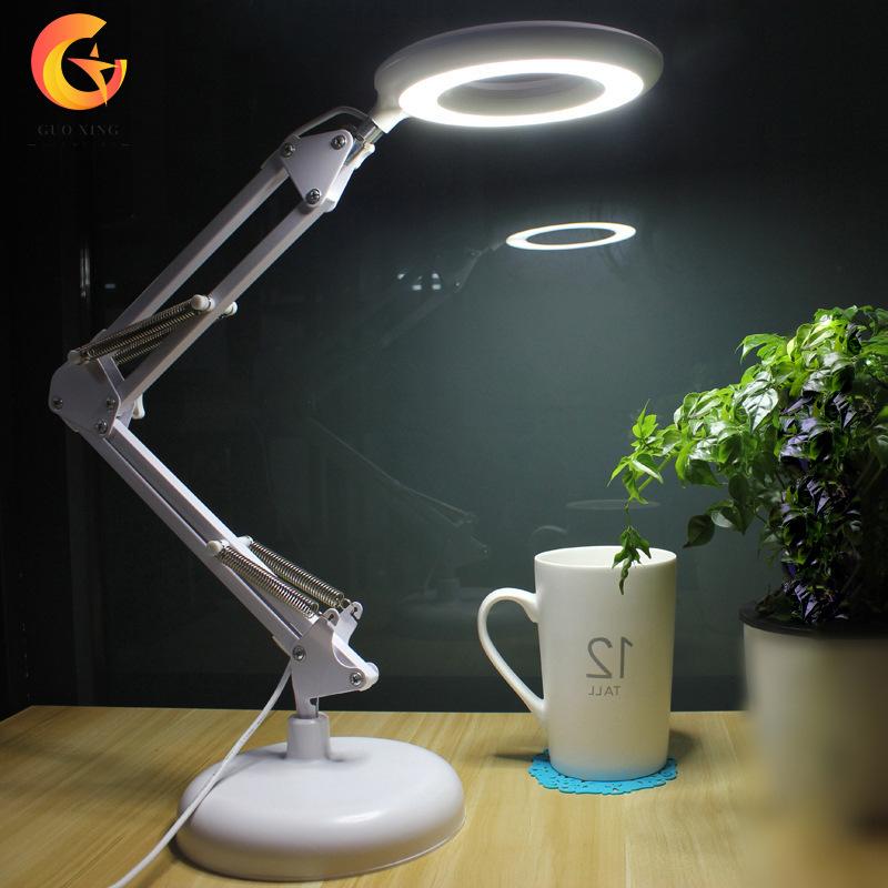 美式铁艺led台灯 带放大镜功能阅读折叠台灯 宿舍床头护眼台灯
